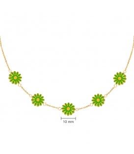 Goudkleurige halsketting met vijf groene madelief bloemen