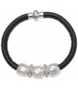 Zwarte armband van kunstleer met metalen ringen en strass