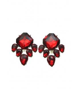 Rode oorclips met grote strass stenen