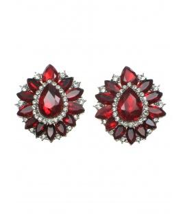 Rode ovale oorclips met heldere strass steentjes