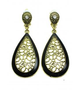 Opengewerkte oudgoudkleur oorclips met ovale hanger en zwarte accenten