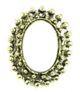 Bronskleurige ring met witte acrylaat steen (flexibel)