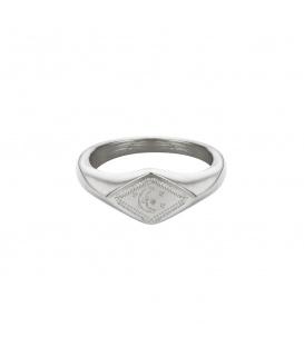 Zilverkleurige ring met gegraveerde maan en sterren (16mm)