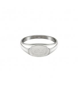 Zilverkleurige ring met gegraveerde zon en maan (18mm)
