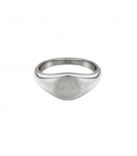 Zilverkleurige ring met gegraveerde zon (18mm)