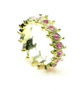 Goudkleurige ring met kleine roze strass steentje (16 mm)