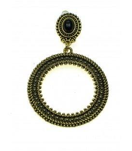 Oudgoudkleur oorclips met ronde hanger en zwart steen