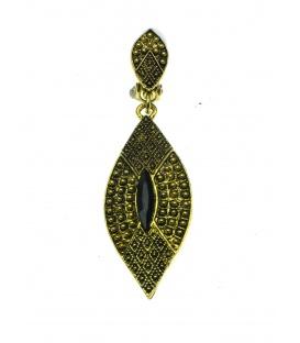 Oudgoudkleur oorclips met smale ovale hanger en zwart steen
