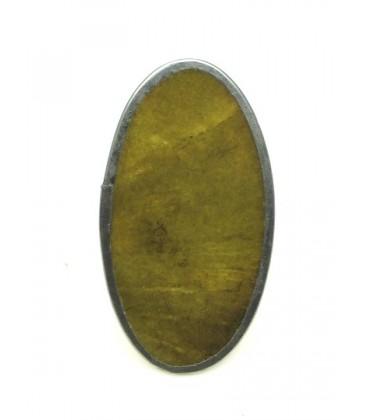 Ring met geelgroene parelmoer inleg (verstelbaar)