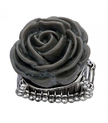 Ring met grijze roos (flexibel)