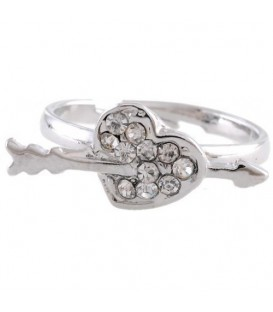 Ring met zilveren hartje en pijl