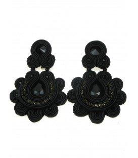 Mooie soutache statement oorclips in zwart met zwarte strass steen