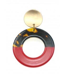 Rood met bruine oorclips met goudkleurig klemmetje