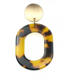Bruine oorclips met ovale hanger en goudkleurig klemmetje