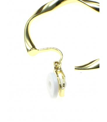 Ronde goudkleurige creool oorclips met bewerkte rand