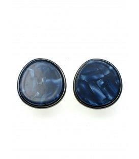 Ronde oorclips in Gun black met blauwe gemarmerde invulling