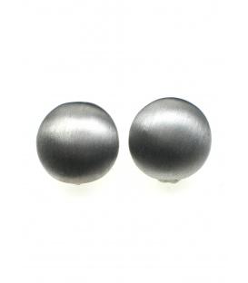 Ronde geborstelde zilvergrijze metalen oorclips