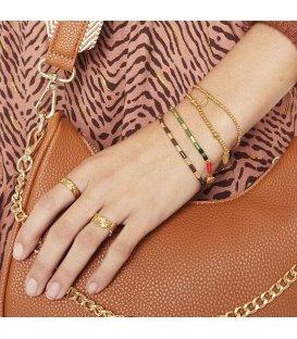 Armband met bruine en goudkleurige kralen en decoratieve sluiting
