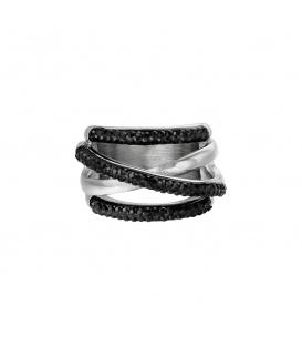 Zilverkleurige ring met strasssteentjes