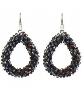 Grijs met koperkleurige oorbellen met ovale hanger en glaskralen