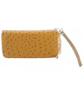 Portemonnee met gele buitenzijde en sluitstrip
