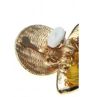 Mosterd gele oorclip met rond element en 3 kwasten