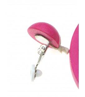 Roze oorclips met ronde houten hanger