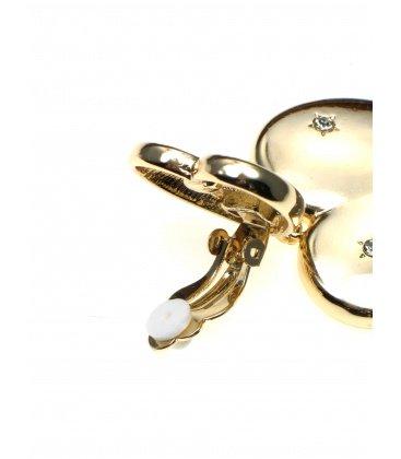 Goudkleurige oorclips in hart vorm met strasssteentjes