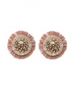 Roze oorclips met raffia bloem, pailletten en kraaltjes