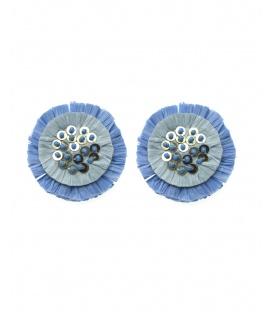 Jeans blauwe oorclips met raffia bloem , pailletten en kraaltjes