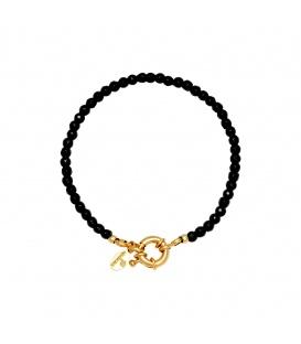 Zwarte glas kralen armband met een goudkleurige sluiting
