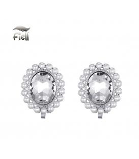 Zilverkleurige oorclips met ovale hanger en kleine pareltjes rondom