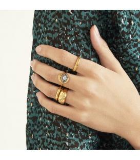 Zilverkleurige dikke ring met kleine steentjes (18)