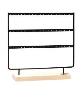 Zwarte displayrek dat ruimte biedt voor 72 oorbellen (36 paar)