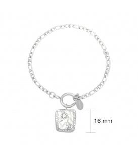 Zilverkleurige schakelarmband met vierkante bedel