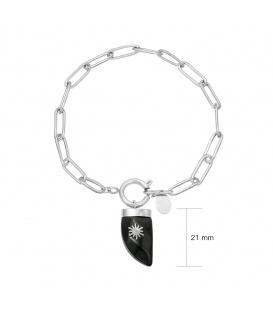 Zilverkleurige schakelarmband met hoorn
