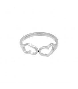 Zilverkleurige ring met twee verbonden hartjes (17)