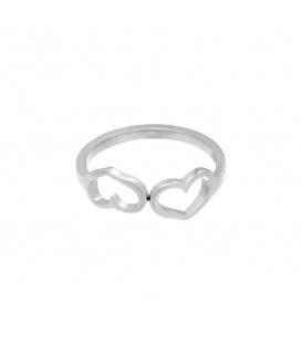 Zilverkleurige ring met twee verbonden hartjes (18)