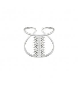 Flexibele zilverkleurige ring met geweven motief in het midden