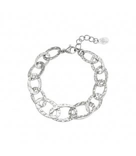 Zilverkleurige gedetailleerde schakel armband