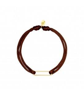 Armband van bruin satijn en een goudkleurig detail