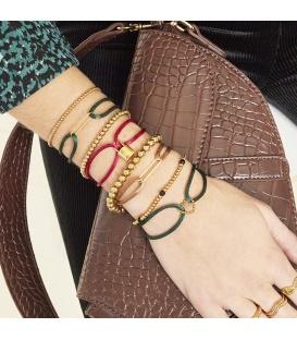 Armband van olijfkleurig satijn met een goudkleurig detail