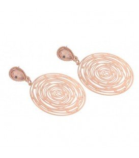 Rose gold kleurige oorbellen met strasssteen