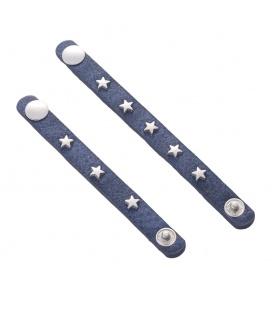 Blauwe sjaal riempjes met metalen sterren ( 2 stuks )