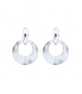 Grijs gevlekte oorbellen met een zilverkleurig oorstukje