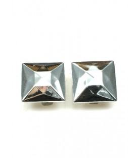 Zilverkleurige vierkante oorclips