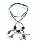Turquoise ketting koord met pluche balletje kralen en veren.