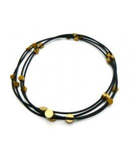 Zwart met gele kralen halsketting van Tjonge Jonge