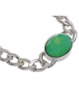 Korte zilverkleurige schakelhalsketting met groene kraal