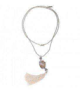 Witte lange halsketting met steentje en kwast